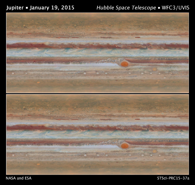 Two pictures of Jupiter's surface taken by the Hubble Space Telescope (Image NASA, ESA, A. Simon (GSFC), M. Wong (UC Berkeley), and G. Orton (JPL-Caltech))