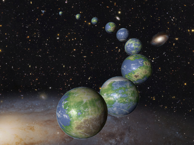 Artist's impression of innumerable Earth-like planets that have yet to be born (Image NASA, ESA, and G. Bacon (STScI))