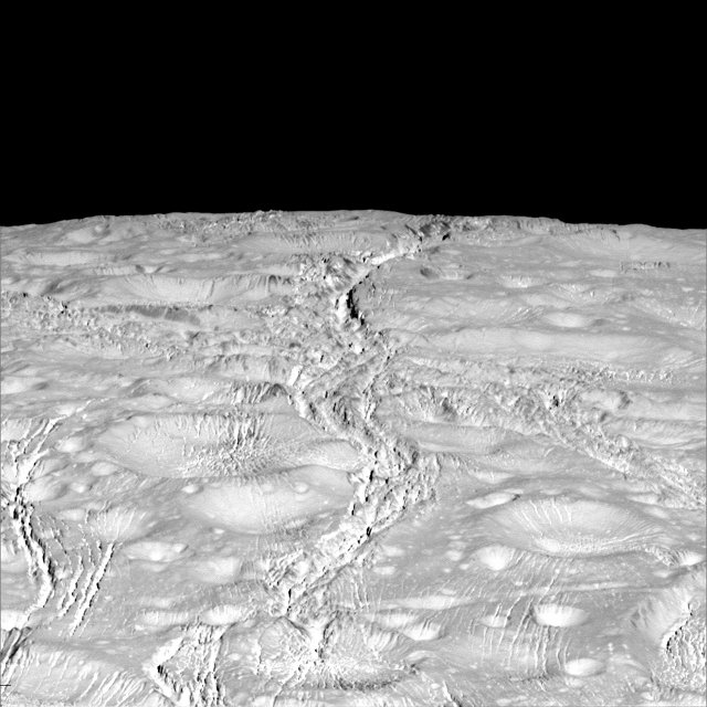Details of Enceladus north pole with its many fractures (Photo NASA/JPL-Caltech/Space Science Institute)