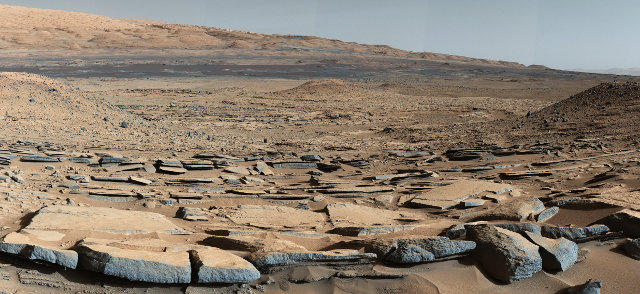 Picture of the formation called Kimberley in Gale Crater taken by the Mars Rover Curiosity (Photo NASA/JPL-Caltech/MSSS)