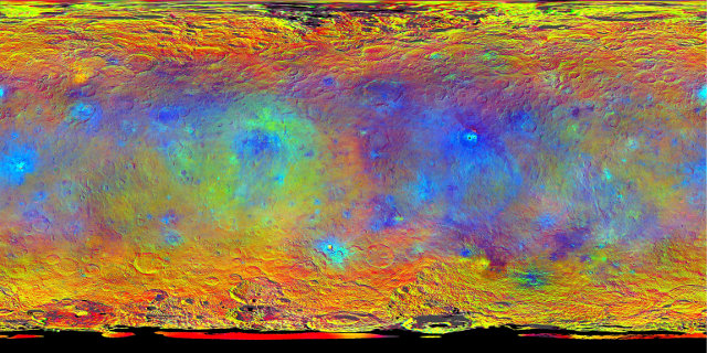 Map-projected view of the dwarf planet Ceres (Image NASA/JPL-Caltech/UCLA/MPS/DLR/IDA)
