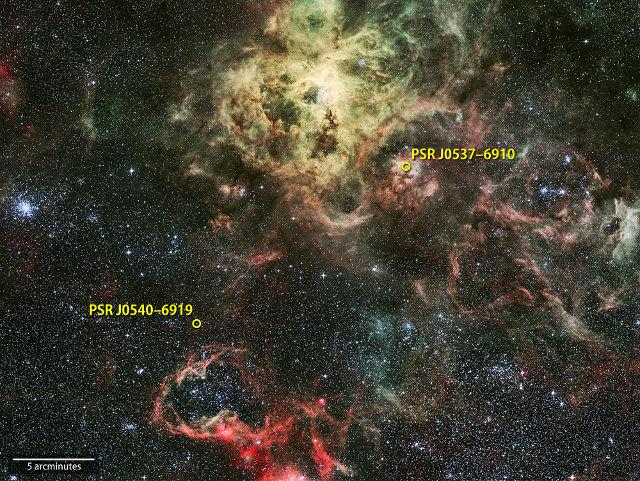 The Tarantula Nebula with the PSR J0540-6919 and PSR J0537-6910 pulsars circled (Image NASA's Goddard Space Flight Center; background: ESO/R. Fosbury (ST-ECF))