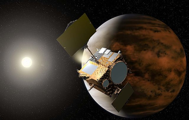 Artistic concept of the Akatsuki space probe orbiting Venus (Image courtesy JAXA. All rights reserved)
