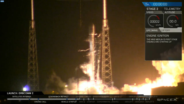 The Falcon 9 rocket blasting off with 11 ORBCOMM satellites (Image courtesy SpaceX. All rights reserved)