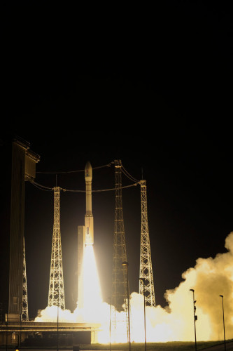 The LISA Pathfinder space probe blasting off atop a Vega rocket (Photo ESA–Stephane Corvaja)