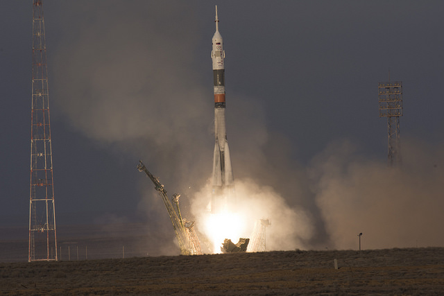 The SoyuzTMA-19M spacecraft blasting off atop a Soyuz rocket (Photo ESA-Stephane Corvaja)