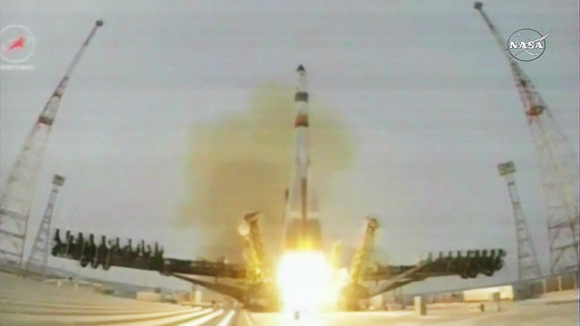 The Progress MS-1 space cargo ship blasting off atop a Soyuz 2.1a rocket (Image NASA TV)