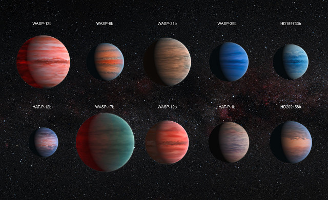 Artistic representation of the ten hot Jupiters examined in this research (Image NASA, ESA, and D. Sing (University of Exeter))
