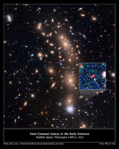The galaxy cluster MACSJ0416.1-2403 observed by the Hubble Space Telescope with the galaxy nicknamed Tayna in the inset (Image NASA, ESA, and L. Infante (Pontificia Universidad Catolica de Chile))