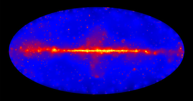 Gamma ray map of the sky created using the new Fermi Space Telescope catalog (Image NASA/DOE/Fermi LAT Collaboration)