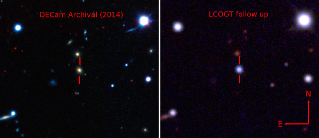 The galaxy that hosts ASASSN-15lh before its explosion taken by the Dark Energy Camera (DECam) [Left], and the supernova by the Las Cumbres Observatory Global Telescope Network (LCOGT) 1-meter telescope network [Right] (Image courtesy The Dark Energy Survey, B. Shappee and the ASAS-SN team))