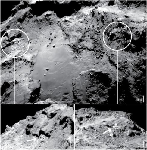 Photos of the Imhotep region on the comet 67P/Churyumov-Gerasimenko where water ice on the surface was confirmed (Image ESA/Rosetta/NavCam – CC BY-SA IGO 3.0)