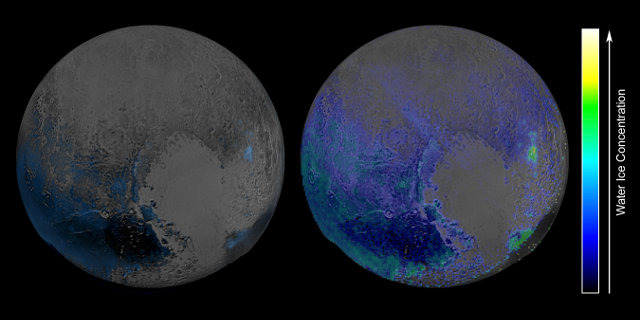 Maps of water ice on Pluto's surface (Image NASA/JHUIAPL/SwRI)