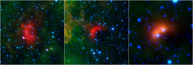 Runaway stars with their bow shocks. On the right one taken by the WISE space telescope, the other two were taken by the Spitzer space telescope