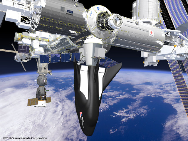 Artistic concept of the Dream Chaser Cargo System docked with the International Space Station (Image courtesy Sierra Nevada Corporation. All rights reserved)