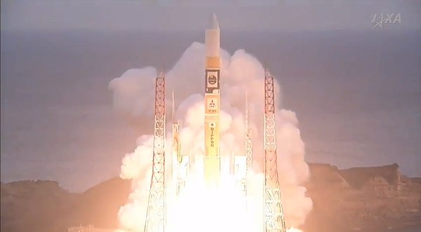The Astro-H space telescope blasting off atop an H-IIA rocket (Image courtesy JAXA)