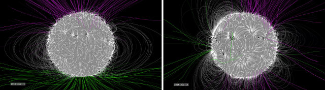Simulation of the Sun's magnetic field in January 2011 (on the left) and July 2014 (on th right) (Image NASA's Goddard Space Flight Center/Bridgman)