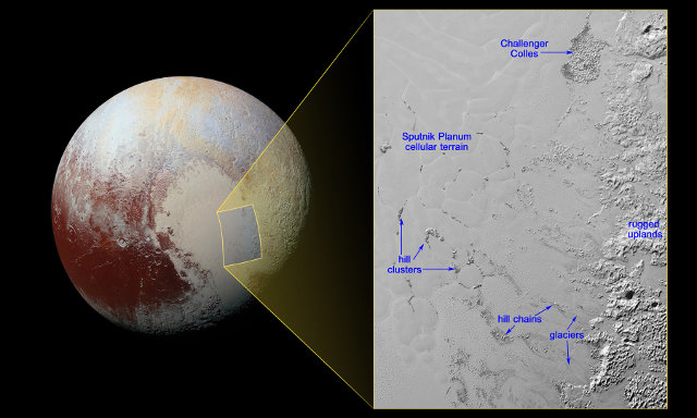 Picture of Pluto and the Sputnik Planum area with its floating hills (Image NASA/JHUAPL/SwRI)