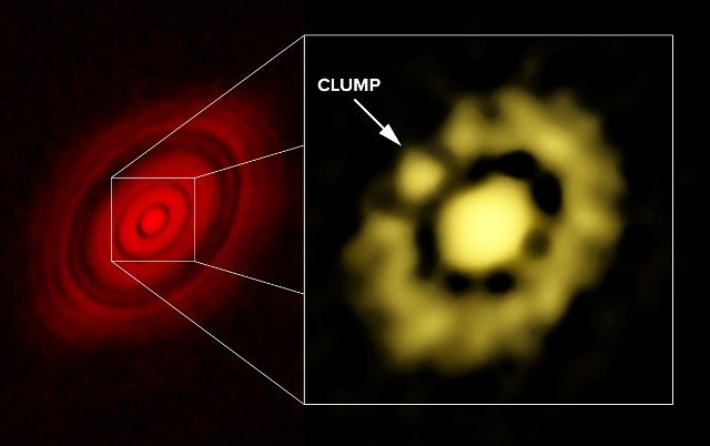 ALMA image of HL Tau at left; VLA image, showing clump of dust, at right (Image Carrasco-Gonzalez, et al.; Bill Saxton, NRAO/AUI/NSF)