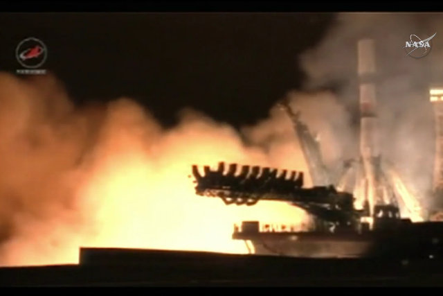 The Progress MS-2 space cargo ship blasting off atop a Soyuz 2.1a rocket (Image NASA TV)