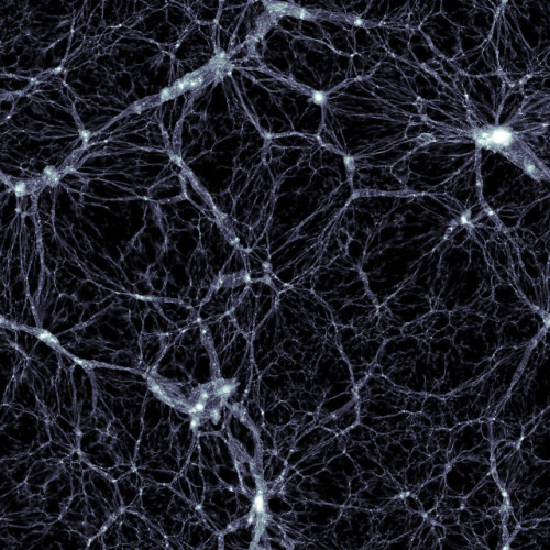 A portion of space simulated by the Illustris project showing the distribution of dark matter (Image courtesy Markus Haider / Illustris collaboration)