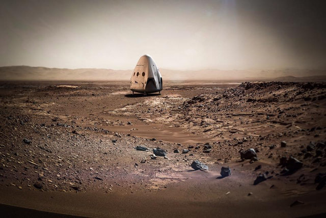 SpaceX Red Dragon spacecraft on Mars' surface (Image courtesy SpaceX. All rights reserved)