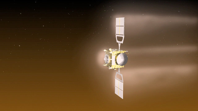 Artistic concept of the Venus Express space probe during an aerobraking maneuver (Image ESA–C. Carreau)