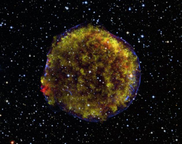 Image of the Tycho Supernova remnant (Image X-ray: NASA/CXC/GSFC/B. Williams et al; Optical: DSS; Radio: NSF/NRAO/VLA)