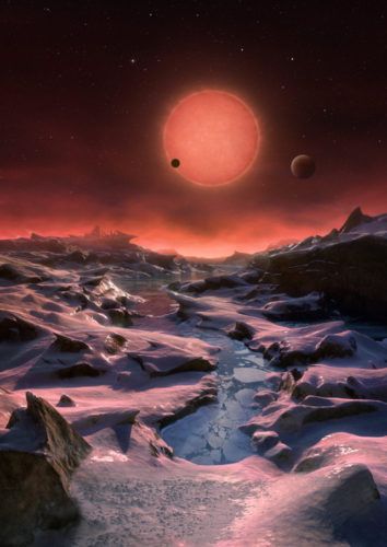 Artistic representation of the TRAPPIST-1 system with its planets seen from one of them (Image ESO/M. Kornmesser)