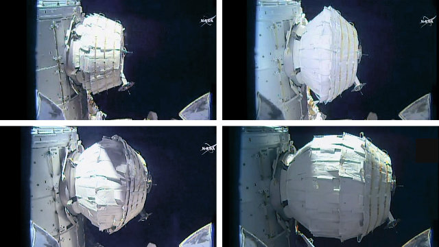 Progress phases of BEAM's expansion (Image NASA TV)