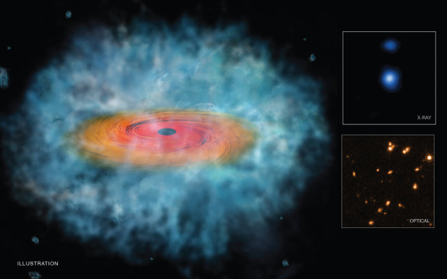 Artistic representation of a supermassive black hole seed. The inset boxes show a candidate seen by Chandra (top) and by Hubble (bottom) (Image X-ray: NASA/CXC/Scuola Normale Superiore/F. Pacucci, et al. Optical: NASA/STScI. Illustration: NASA/CXC/M. Weiss)