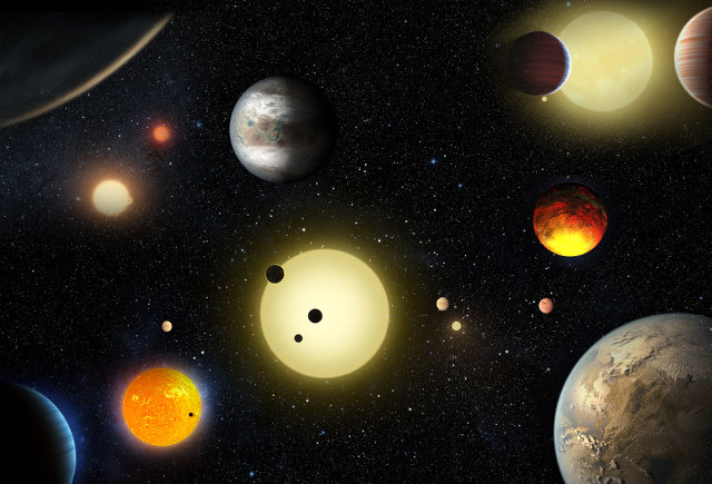 Artistic concept of some of the exoplanets found by the Kepler space telescope (Image NASA/W. Stenzel)