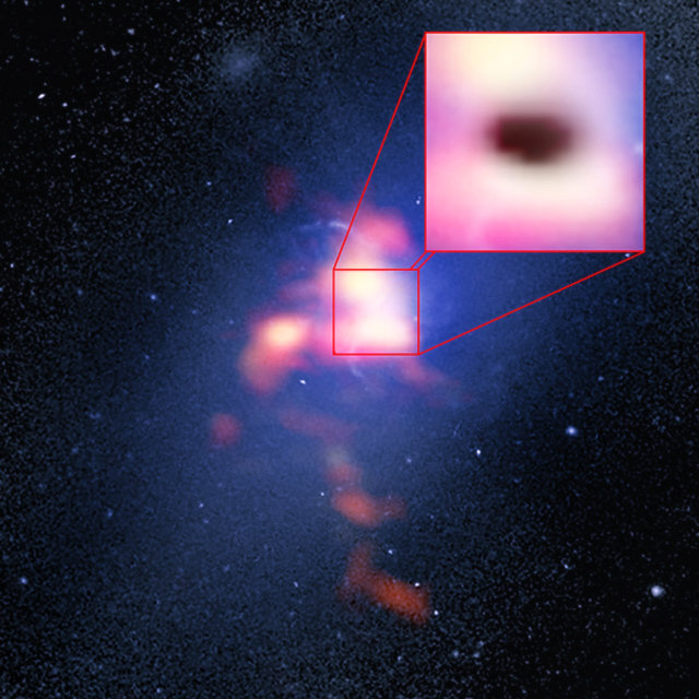 In the background an image taken by the Hubble Space Telescope. In red the gas seen by ALMA (Image B. Saxton (NRAO/AUI/NSF)/G. Tremblay et al./NASA/ESA Hubble/ALMA (ESO/NAOJ/NRAO))
