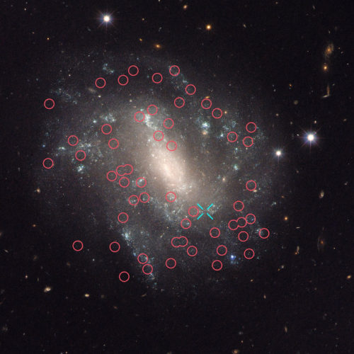 The galaxy UGC 9391 seen by the Hubble Space Telescope. Cepheid variable are in red circles, a type Ia supernova is marked by a blue cross (Image NASA, ESA, and A. Riess (STScI/JHU))