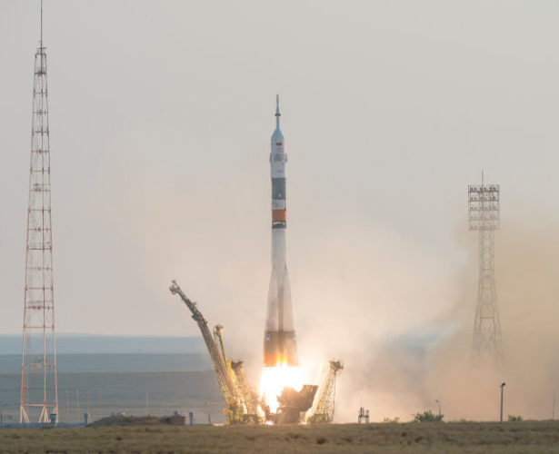 The Soyuz MS-01 spacecraft blasting off atop a Soyuz rocket (Photo NASA/Bill Ingalls)