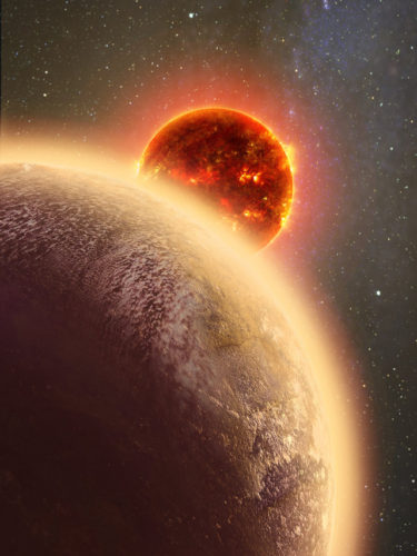 Artistic concept of the exoplanet GJ 1132b with its star in the background (Image courtesy Dana Berry / Skyworks Digital / CfA)