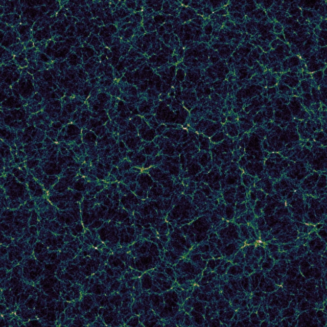 Simulation of the large-scale structure of the universe (Image Nico Hamaus, Universitäts-Sternwarte München, courtesy of The Ohio State University)