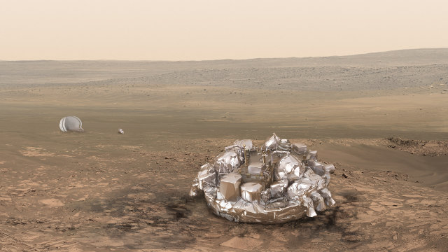 Artistic representation of the lander Schiaparelli on Mars (Image ESA/ATG medialab)