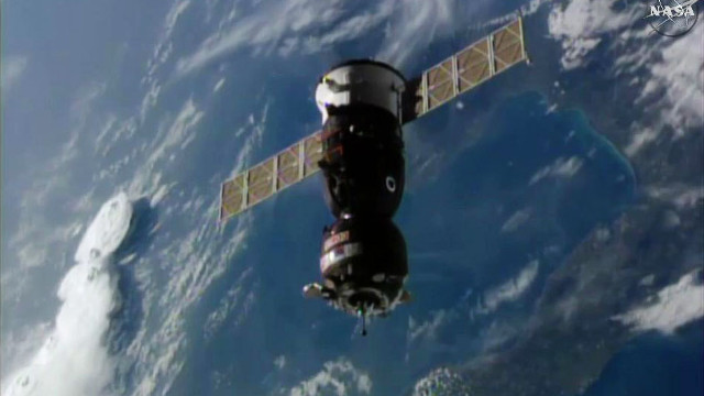 The Soyuz-02 MS spacecraft approaching the International Space Station (Image NASA TV)