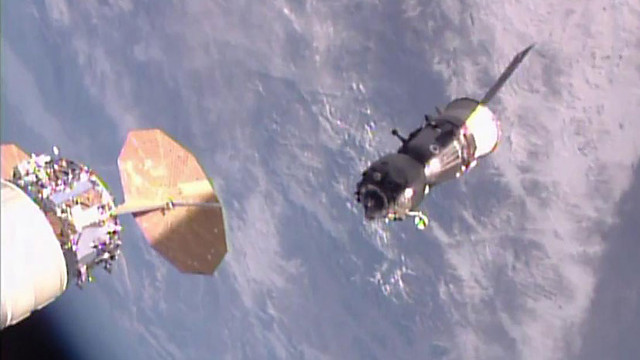 The Soyuz MS-01 spacecraft departing the International Space Station (Image NASA TV)
