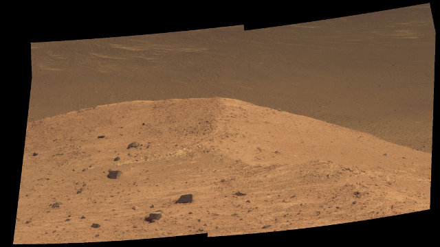 Spirit Mound, near the eastern end of Bitterroot Valley (Image NASA/JPL-Caltech/Cornell/Arizona State Univ.)