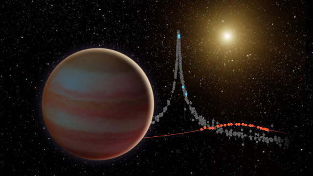 Illustration of OGLE-2015-BLG-1319: in grey the data from ground-based telescopes, in blue the data from Swift and in red the data from Spitzer (Image NASA/JPL-Caltech)