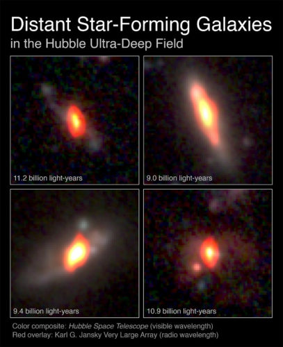 Some of the ancient galaxies observed (Image K. Trisupatsilp, NRAO/AUI/NSF, NASA)