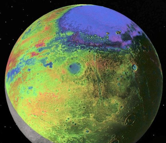 Topographic view of Pluto (Image P.M. Schenk LPI/JHUAPL/SwRI/NASA)