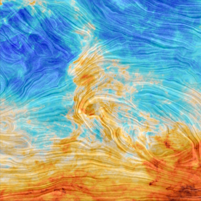 Magnetic field in Polaris Flare (Image ESA and the Planck Collaboration)