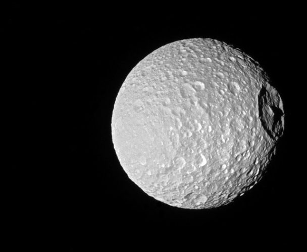 The big Mimas' mountain seen by the Cassini space probe