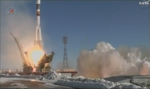 The Progress MS-5 cargo spacecraft blasting off atop a Soyuz U rocket (Image NASA TV)