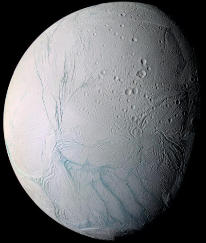Enceladus with some tiger stripes in blue (Image NASA/JPL/Space Science Institute)