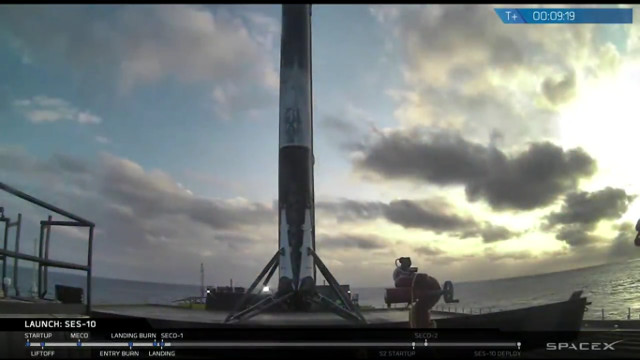 The Falcon 9 rocket's first stage after its second landing (Image SpaceX)