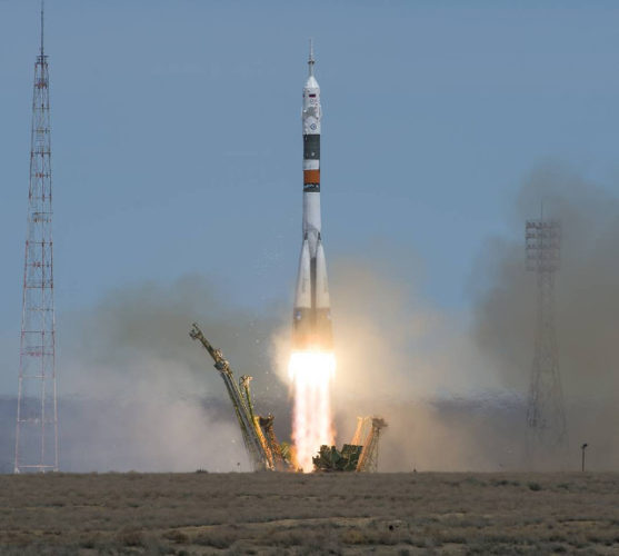 The Soyuz MS-04 spacecraft blasting off atop a Soyuz rocket (Photo NASA/Aubrey Gemignani)